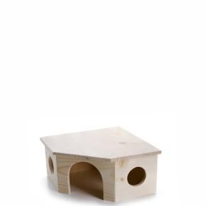 Dřevěný rohový domek pro králíky