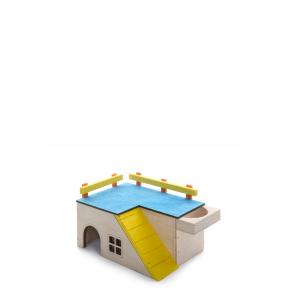 Domek se zábradlím a krmítkem, dřevěný domek pro hlodavce