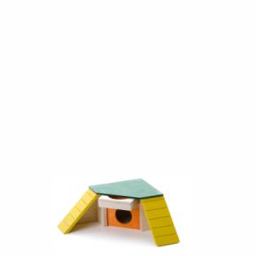 Rohový domek se schody a krmítkem, dřevěný domek pro hlodavce