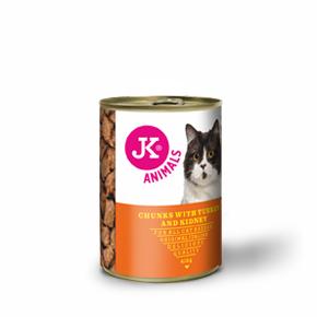 JK masová konzerva pro kočky s krůtím masem a ledvinkami 415g