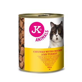 JK masová konzerva pro kočky s kuřecím a krůtím masem 820g