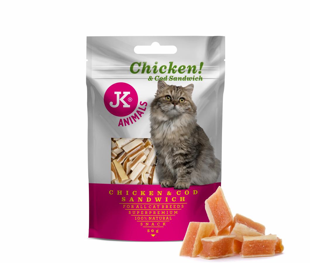 JK SUPERPREMIUM MEAT SNACK CAT CHICKEN AND COD SANDWICH – sušené kuřecí a tresčí sendviče pro kočky | © copyright jk animals, všechna práva vyhrazena