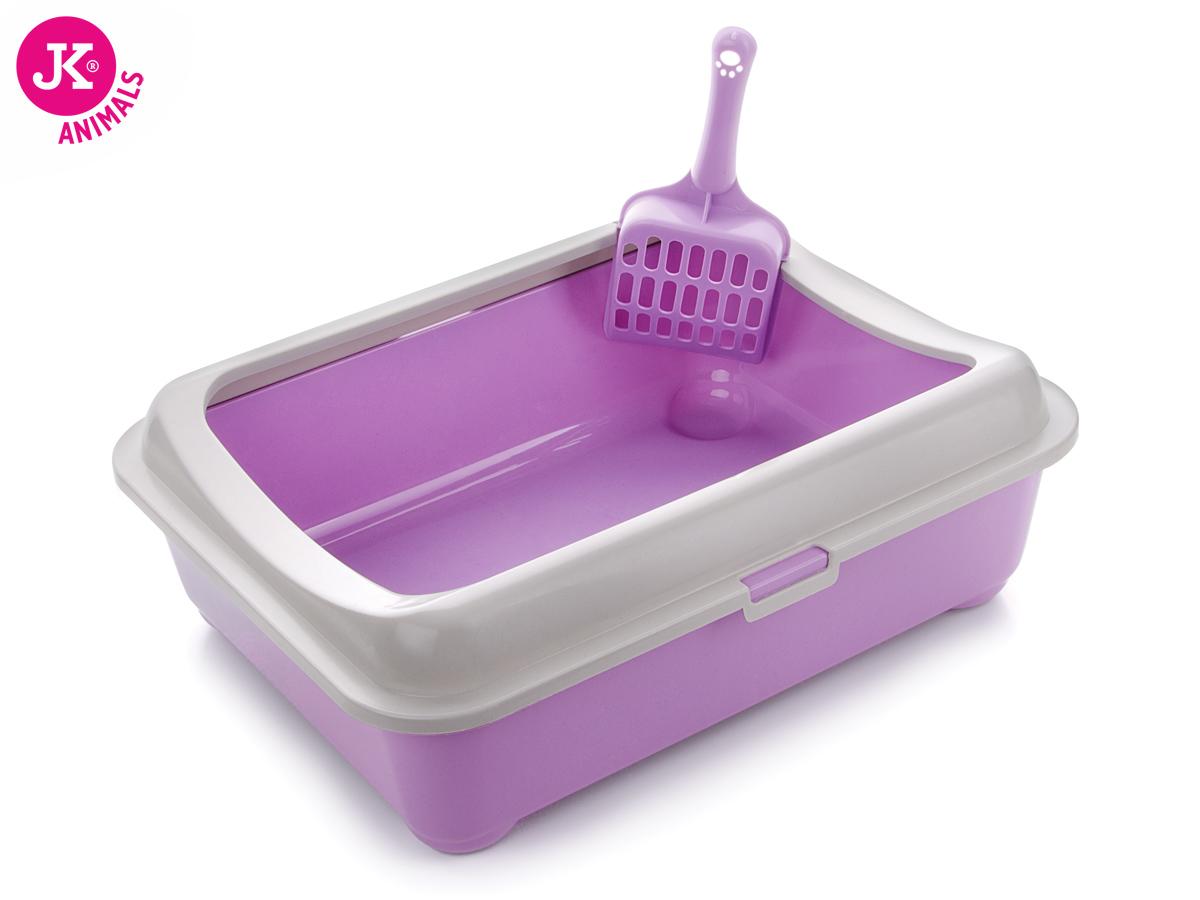 JK ANIMALS Plastová fialová kočičí toaleta (WC) s okrajemalopatkou | © copyright jk animals, všechna práva vyhrazena