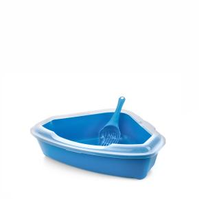 Rohová plastová kočičí toaleta (WC) sokrajemalopatkou