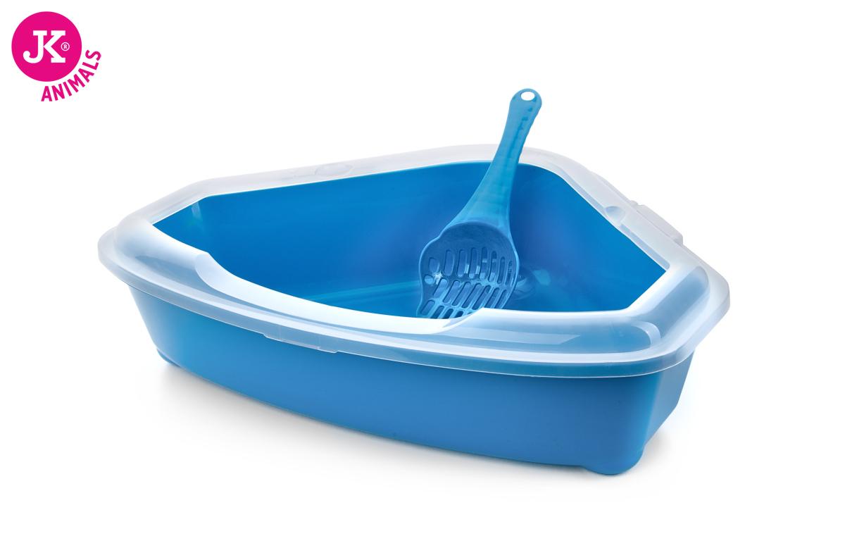 JK ANIMALS Rohová plastová kočičí toaleta (WC) sokrajemalopatkou modrá | © copyright jk animals, všechna práva vyhrazena