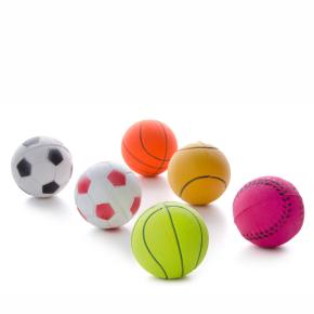 Gumové míčky v síťce mix - 6,3 cm - 6 ks, gumová hračka