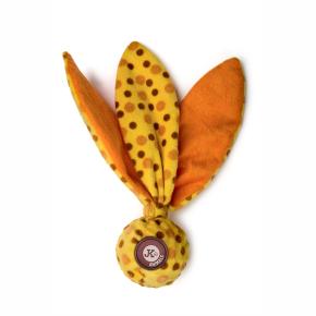 TPR míček, žlutá plyšová pískací, šustící hračka