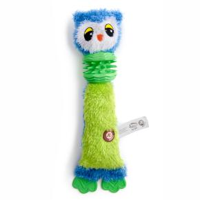 Plyšová sova s TPR krkem a packami, plyšová pískací hračka