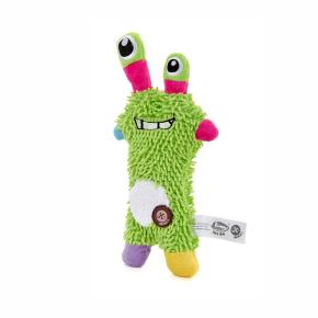 Monster mop zelený, plyšová pískací hračka