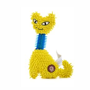 Žlutá kočka mop s TPR krkem, plyšová pískací hračka