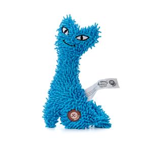 Kočka plyš modrá, plyšová pískací hračka