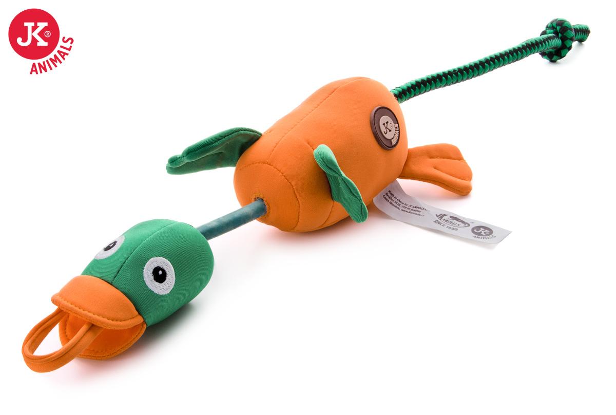 JK ANIMALS Létající/vystřelovací kachna, polyesterová pískací plovoucí hračka | © copyright jk animals, všechna práva vyhrazena