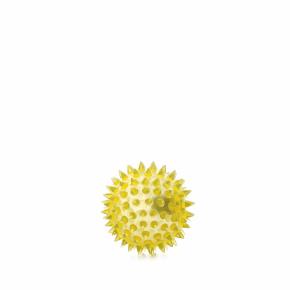 LED TPR míček s bodlinami žlutý, odolná (gumová) hračka ztermoplastické pryže