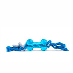TPR - Bavlněný uzel s kostí - modrý, odolná (gumová) hračka ztermoplastické pryže