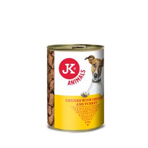 JK masová konzerva pro psy s kuřecím a krůtím masem 415g