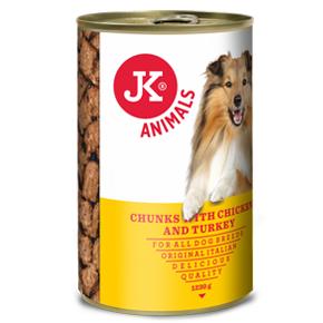 JK masová konzerva pro psy s kuřecím a krůtím masem 1230g