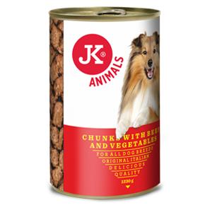 JK masová konzerva pro psy s hovězím masem a zeleninou 1230g
