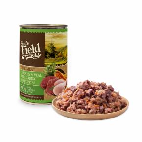 Sams Field Chicken & Calf Meat With Carrot, superprémiová masová konzerva (Sam's Field)