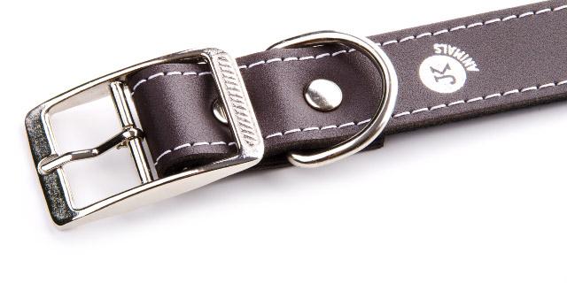 Široký kožený obojek LUX 28 mm hnědý