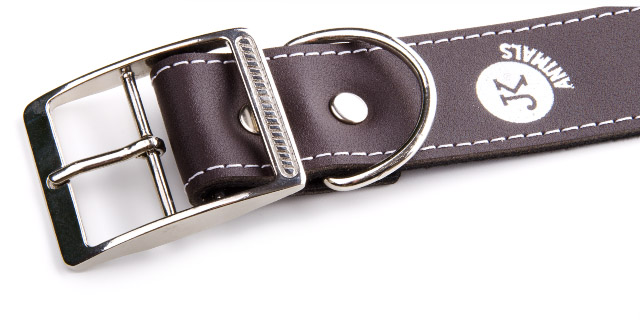 Široký kožený obojek LUX 38 mm hnědý