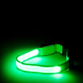 Nylonový LED obojek XS zelený