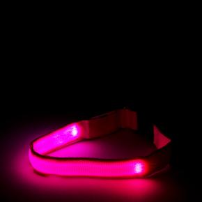 Nylonový LED obojek XS růžový