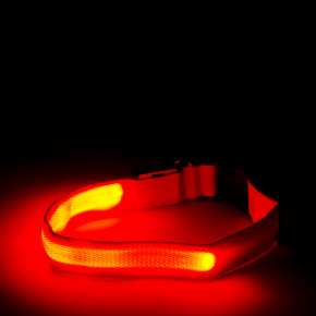Nylonový LED obojek M červený