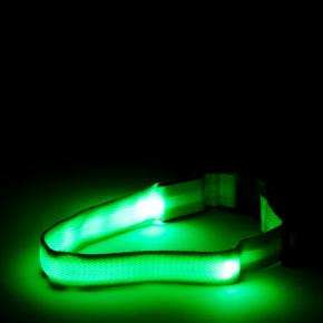 Nylonový LED obojek M zelený