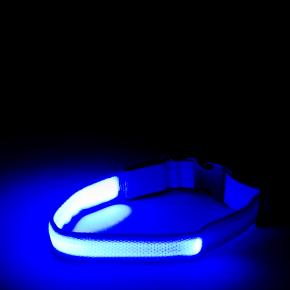 Nylonový LED obojek M modrý