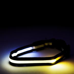 Nylonový LED obojek M černý