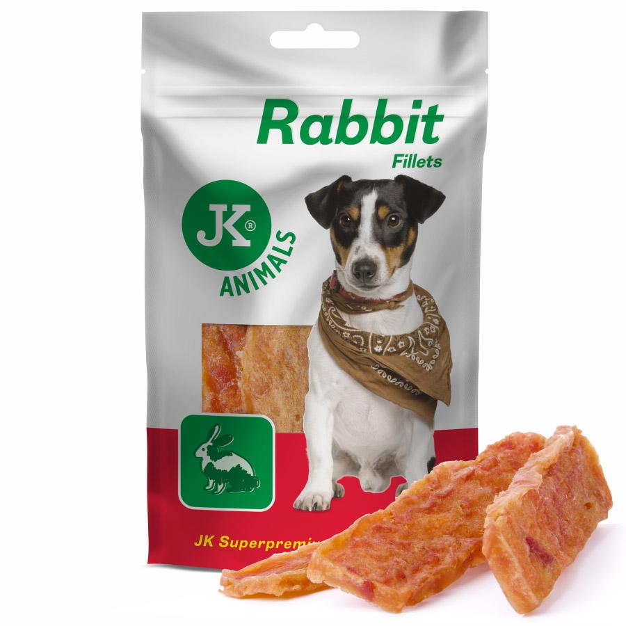 JK ANIMALS Meat Snack Rabbit fillets, 94% sušené králičí maso, masový pamlsek, 80g | © copyright jk animals, všechna práva vyhrazena