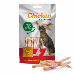 Meat Snack 100 % Chicken And Cod Strips, 100% sušené kuřecí maso s treskou, masový pamlsek80g