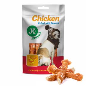 M. Snack 100 % Chicken & Cod With Sesame, 100% sušené kuřecí maso s treskou a sezamem, masový pamlsek, 80g