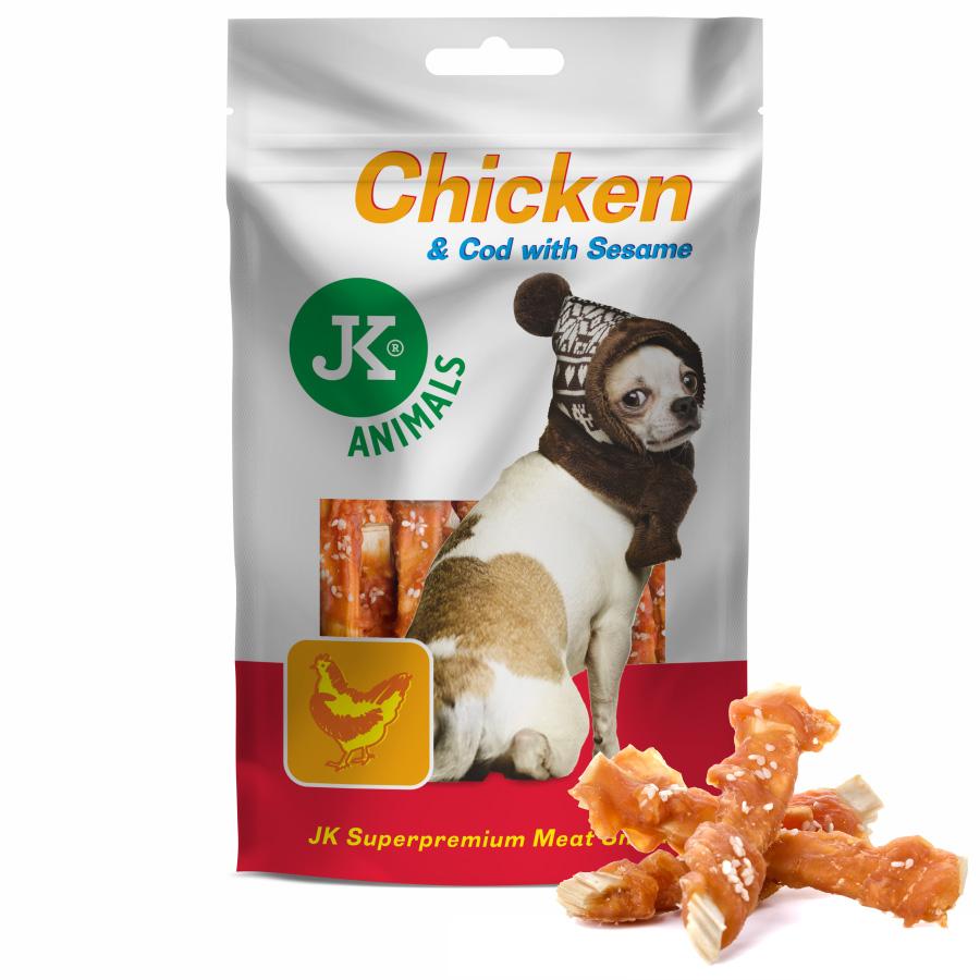 JK DOG MEAT SNACK 100 % CHICKEN & COD WITH SESAME - 100% přírodní masová kuřecí pochoutka na tresce se sezamem 80g | © copyright jk animals, všechna práva vyhrazena