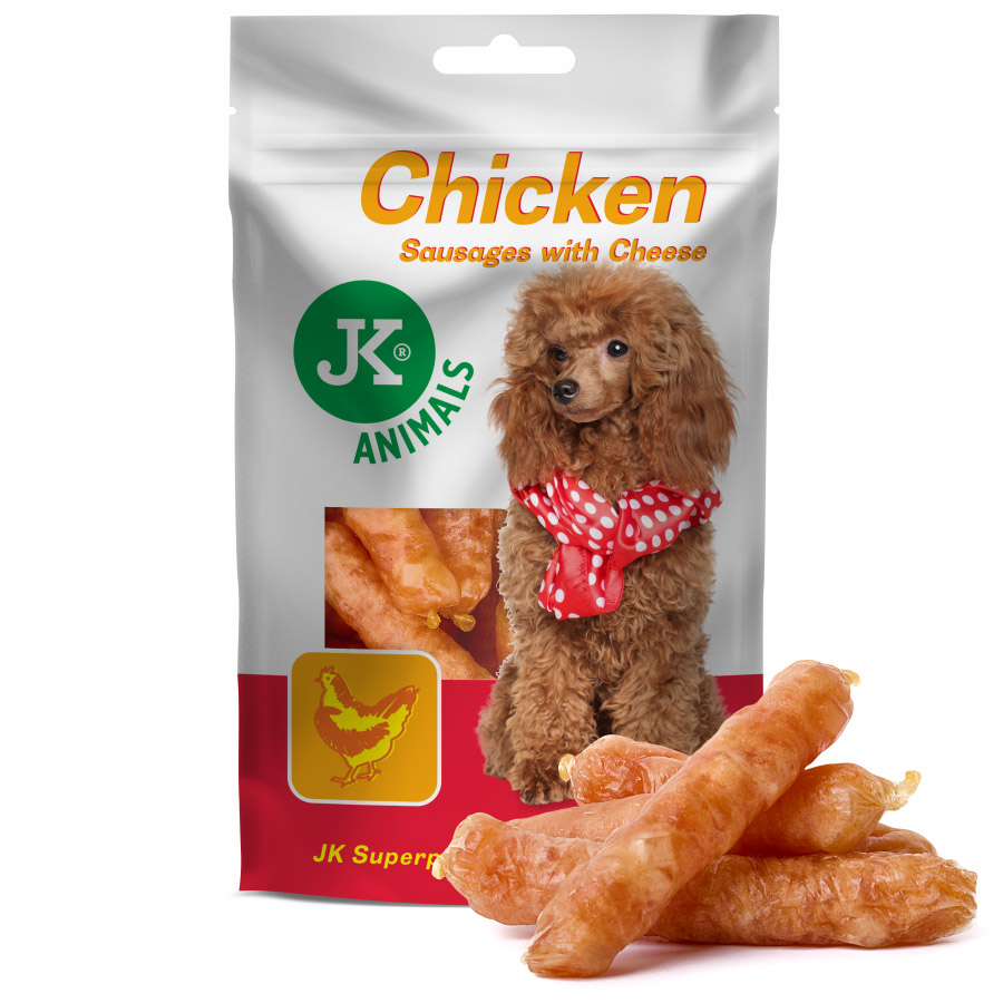 Meat Snack 100% Chicken Meat Sausages With Cheese | © copyright jk animals, všechna práva vyhrazena