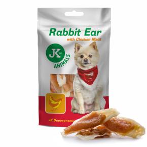 Meat Snack Rabbit Ear with Chicken Meat, sušené králičí uši skuřecím masem, masový pamlsek, 80g