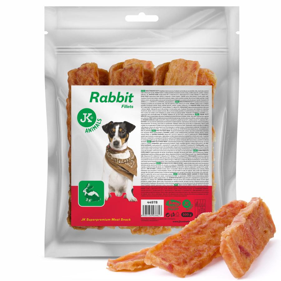 JK ANIMALS Meat Snack Rabbit fillets, 94% sušené králičí maso, masový pamlsek, 500g | © copyright jk animals, všechna práva vyhrazena
