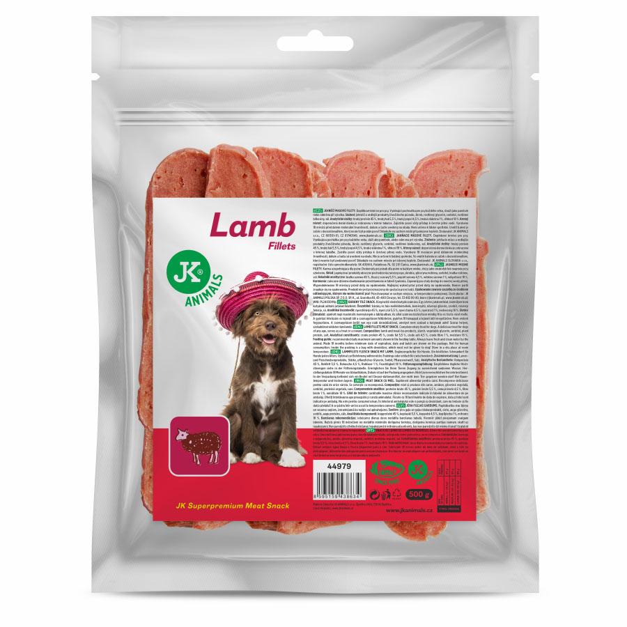 JK ANIMALS Meat Snack Lamb fillets, 91% sušené jehněčí maso, masový pamlsek, 500g   © copyright jk animals, všechna práva vyhrazena