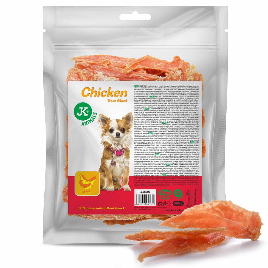 JK DOG MEAT SNACK 100 % CHICKEN - 100% přírodní masová kuřecí pochoutka 80g | © copyright jk animals, všechna práva vyhrazena