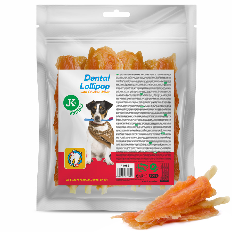 JK ANIMALS Meat Snack Chicken Meat Lollipop, sušené kuřecí maso na dentální tyčince, masový pamlsek, 500g | © copyright jk animals, všechna práva vyhrazena