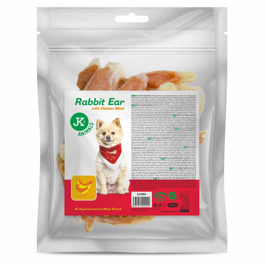 JK ANIMALS Meat Snack Rabbit Ear with Chicken Meat, masový pamlsek   © copyright jk animals, všechna práva vyhrazena