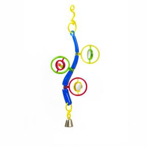 Kruhy se zrcátky, zvonkem a počítadlem, plastová hračka pro ptáky
